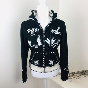 Lucky Brand HTF Embroidered Southwest Black Hoodie